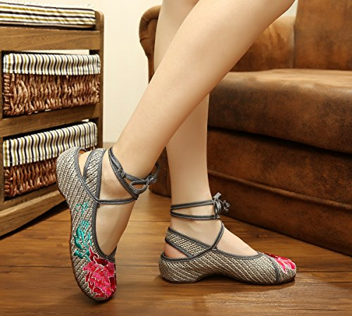 Bininbox Dames Brodé Lin Mary Jane Chaussures Fleuri Chinois Ballet Chaussures Gris Foncé