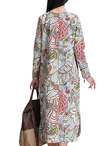 Color Loose Cotton Women As Mid Ethnic Linen With Printed Dress Floral Picture Pocket Calf wqfxxAP7Et