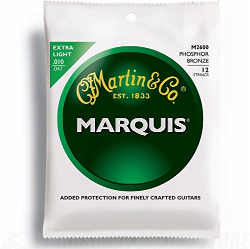 Martin M2600 Marquis Phosphor Bronze 12 String Acoustic Guitar Strings, Extra Light