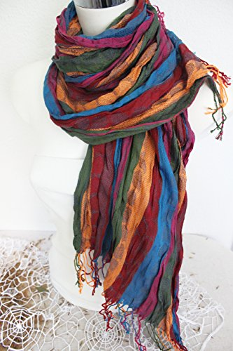 Men's Shawl, Men Linen scarves, Pink orange Scarf, Ethnic scarves, Striped scarf men, Blue Green scarf, Men gift, Men Christmas gift