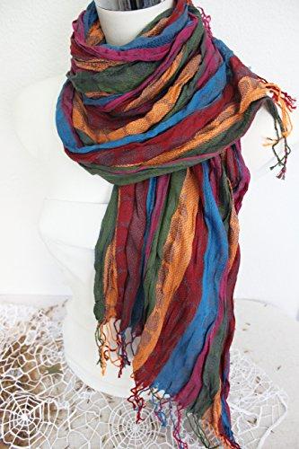 Men's Shawl, Men Linen scarves, Pink orange Scarf, Ethnic scarves, Striped scarf men, Blue Green scarf, Men gift, Men Christmas gift