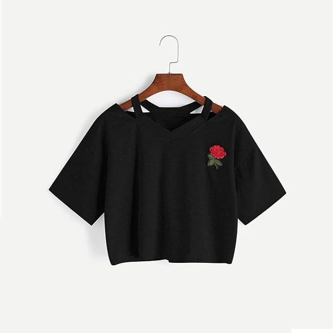 Camisas Mujer, ❤️Xinan Blusa de Manga Corta Mujer Rosa Casual Camiseta con Cuello EN V Tops Chaleco: Amazon.es: Ropa y accesorios
