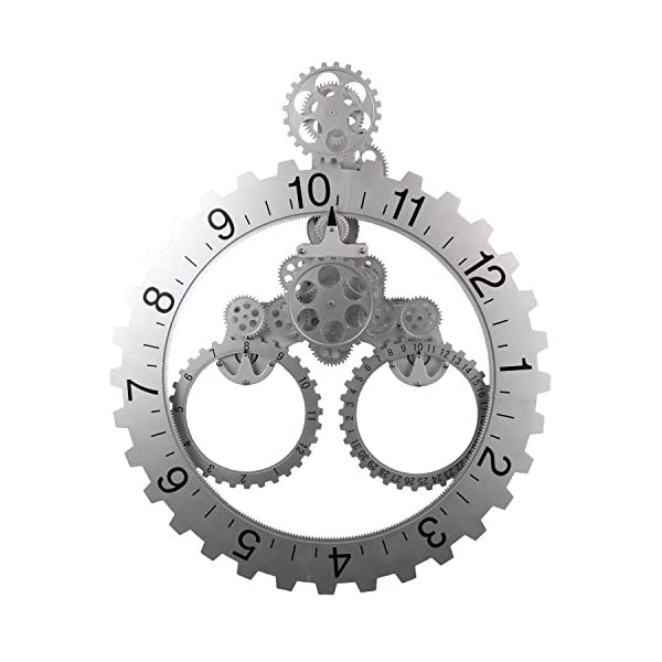 "Sea Team 26"" x 22"" Large Sized Mechanical Style Gear Elements Quartz Movement Wall Clock Decorative Modern Steampunk Big Month/Date/Hour Wheel Clock (Silver) 4"