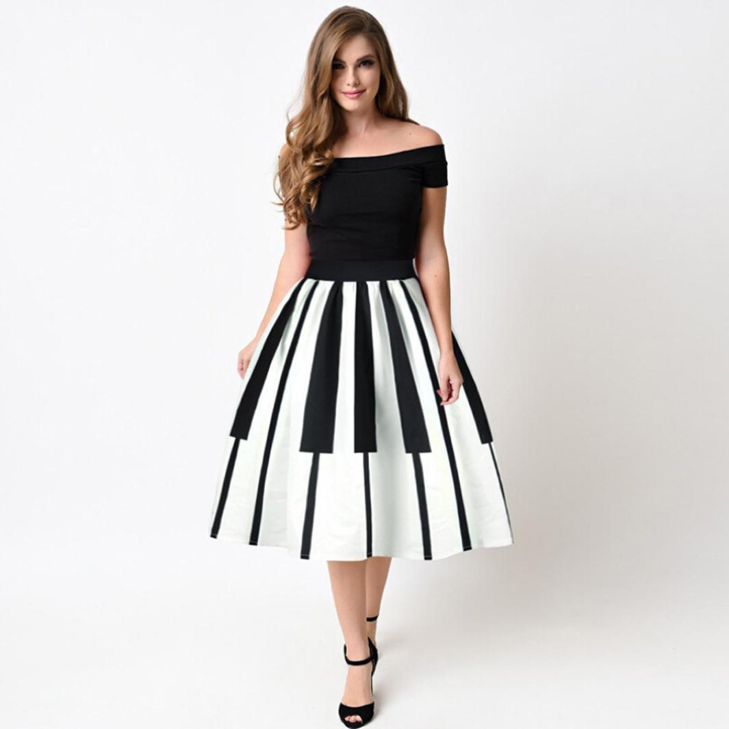 95f8bb1323af Amazon.com  Gyoume Off Shoulder Dress Women Piano Keys Printed Skirt High  Waist Dress Above Knee Pleated Dress  Clothing