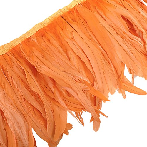 Rooster Hackle Feather Trim 10-12 inch in Width for DIY Sewing Crafts Decoration (Orange, 1 Yard)