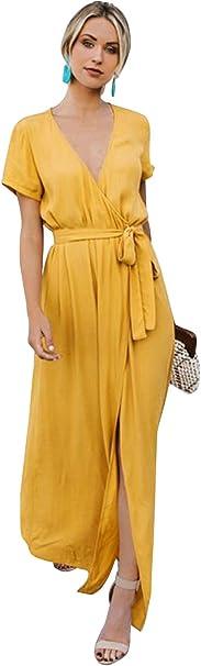 Flying Rabbit Damen Sommerkleider Kurzarm Kleider Hohe Taille V-Ausschnitt Maxikleider mit G/ürtel