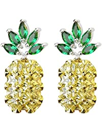 S925 Sterling Silver 18K Gold Plated CZ Two-tone Green Leaf Crystal and Pineapple Women Dangle Drop Earrings