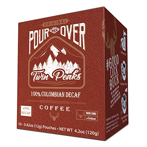 Twin Peaks Premium 100% All Natural Single Serve Pour Over Colombian Decaf Arabica Coffee, Non GMO, 10 12 gram pouches