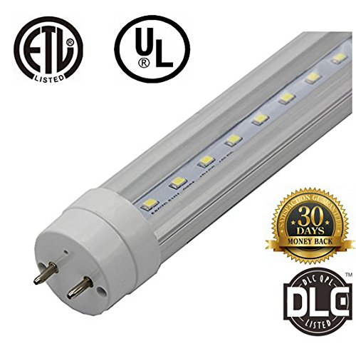 ZTSS T8 LED Light Tube, 5FT 60Inch 24w (Equivalent 100W Fluorescent Bulb), 6000K (Cool white light), 2500~3000 Lumens, 50000 Hours, Clear Cover, CE & UL & DLC Dual-End & Single-End Powered(4Pack)