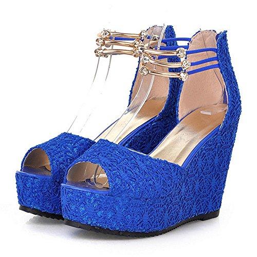 COOLCEPT Mujer Novedad Correa de Tobillo Sandalias Tacon Alto de Cuna Peep Toe Zapatos con Cremalleraper Tamano Azul
