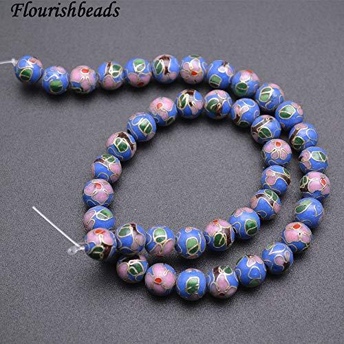 Calvas 10mm Blue Cloisonne Pink Flower Veins Cloisonne Round Loose Beads Jewelry Findings
