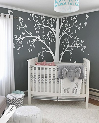 Large tree decal Huge White Tree wall decal Stickers Corner Wall Decals Wall Art Tattoo White tree by StudioQuee