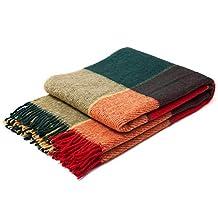 Luxury Plaid Throw Green / Red Blanket - Soft Warm Tartan Wool (Twin)