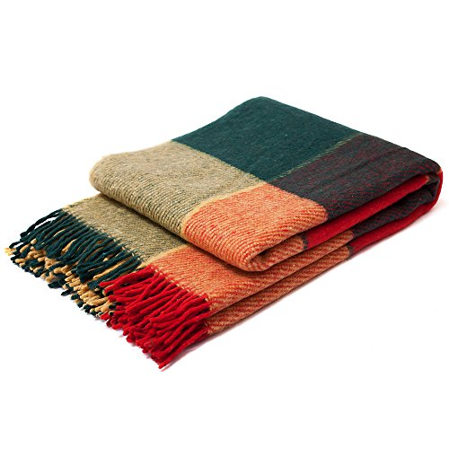 "Wool Blankets Tartan (Luxury Wool Blanket 55""x79"" by CG Home – Super Warm and Soft Green / Red Blanket for Cozy Fall and Winter Days –Tartan Plaid Throw Blanket Accents Any Home Décor by CG Home (Twin))"