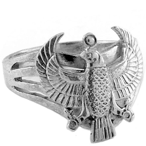 Egyptian Jewelry Silver Horus Falcon Ring - Size 7