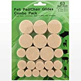 Best Chair Glides for Hardwood Floors Best Felt Pads - 63 Pack Chair Felt Pads - Self Stick Furniture Glides - Chair Floor Protectors - Floor Scratch Protection - Felt Pads for Hardwood Floors/Laminate/Linoleum/Tile Sliders - Guarantee.