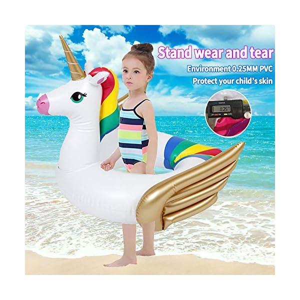 iGeeKid Pool Float for Kids Unicorn Flamingo Swim Floats for Toddlers Age 3-6 Years Inflatable Unicorn Floaties Swimming… 7