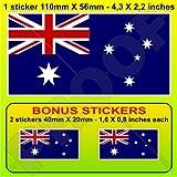 "AUSTRALIA Australian Flag 4,3"" (110mm) Vinyl Bumper Sticker, Decal x 1 +2 BONUS"