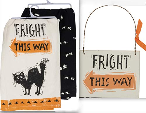 Primitives by Kathy Fright This Way Halloween Bundle 3 Items - Black Cat Dish Towel - Spooky Eyes Dish Towel - Fright This Way Small Hanging Sign ()