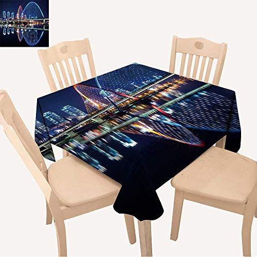 (UHOO2018 Polyester Fabric Tablecloth Square/Rectangle Expo Bridge in Daejeon,South Korea. for Picnic,Outdoor or Indoor,23 x 23inch)