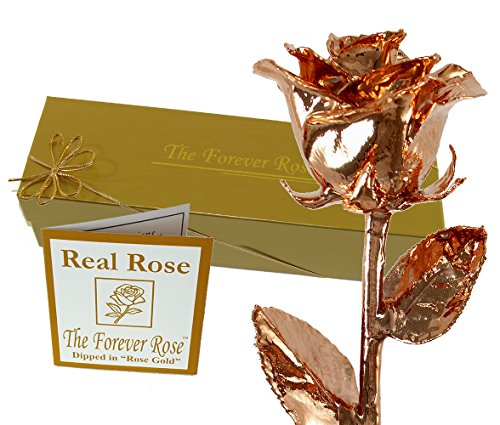 Rose Gold Dipped Real Rose w/ Gold Gift Box By The Original Forever Rose USA Brand!