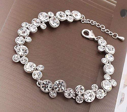 Women Elegant Leng Elegant Pretty Bracelet Extravagance Fashion European and American Style New Women Bracelet Austrian Crystal Bracelet(White)