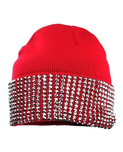 NYFASHION101 Solid Color Rhinestone Studded Winter Warm Cuff Skull Cap Beanie Hat - (Rhinestone Womens Knit Cap)