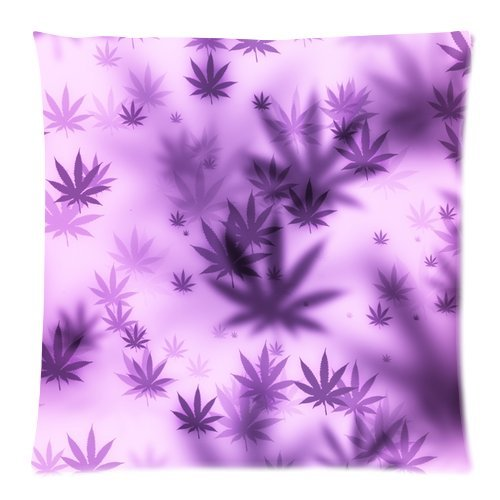 """Customized Evergreen Home Fashions Purple Weed Leaves Flying Custom Zippered Throw Pillow Case Soft Car-back Sofa Cushion Case 20""""x20""""(Two Sides)"""