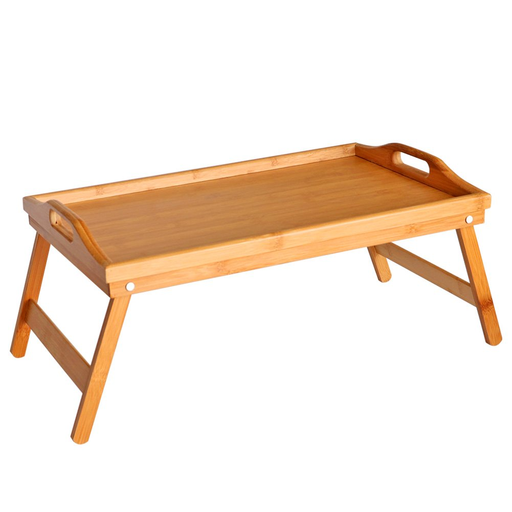 M.Z.A Bamboo Bed Tray with Folding Legs Breakfast Serving Tray with Handles Laptop Desk for Bed Table Snack Tray