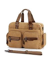 17 inch Canvas Leather Gym Duffel Bag Overnight Weekend Single-shoulder Bag Coffee