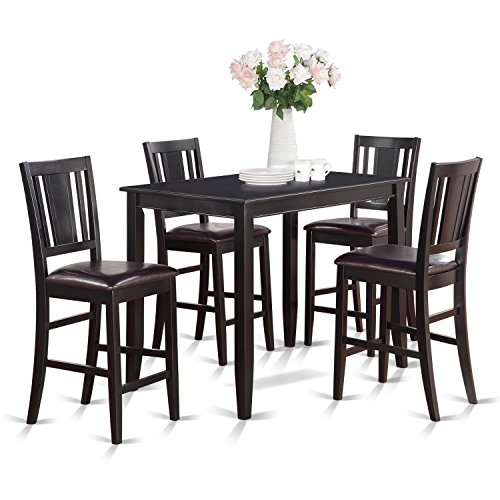 - East West Furniture BUCK5-BLK-LC 5-Piece Gathering Table Set, Black Finish