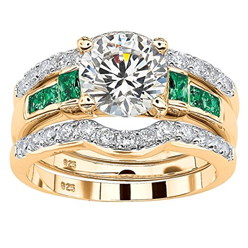 18K Yellow Gold over Sterling Silver Round Cubic Zirconia and Baguette Simulated Green Emerald Bridal Ring Set Size 6