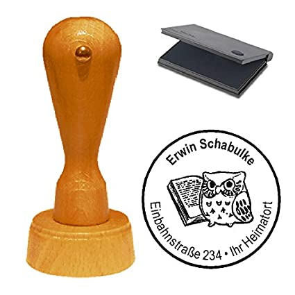 Adressenstempel « BUCHSTAPEL » mit Kissen Firmenstempel für Bücherei