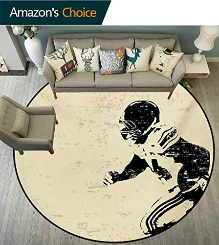 RUGSMAT Sports Non Slip Round Rugs,Rugby Player in Action Running Success in Arena Playground Sport Best Team Picture Oriental Floor and Carpets,Diameter-55 Inch Beige Black