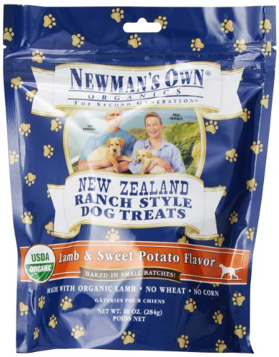 Newman's Own Organics New Zealand Ranch Style Dog Treats, Lamb and Sweet Potato, 10-Ounce (Pack of 6)