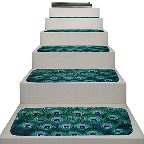 JIA-WALK 5 Pcs Stairs Mat Peacock Feather Printing Step Basic Non-Slip Rubber Backing Skid-Resistant Carpet Stair Gripper Home Floor Mat,22x70cm