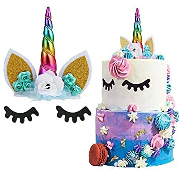 SuperCat Decoración para Tarta de Unicornio Hecha a Mano con Flores de Unicornio y Orejas de Cuerno con Purpurina para cumpleaños, decoración para ...
