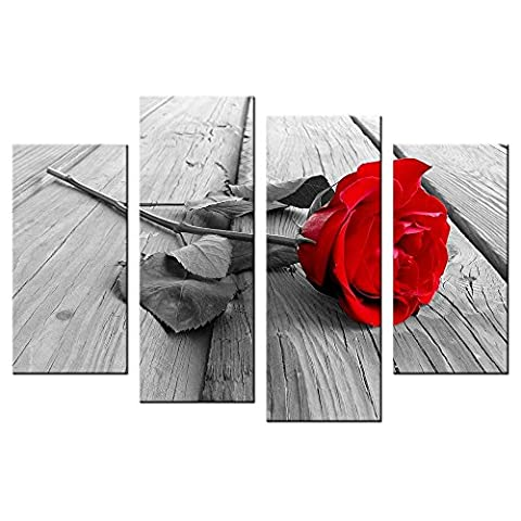 CHARM HOME Wall Canvas Black And White Painting HD Prints A Red Blood Rose 4 Panels Wall Mural Vintage Retro Giclee Artwork - Rectangle Picture Frame Charms