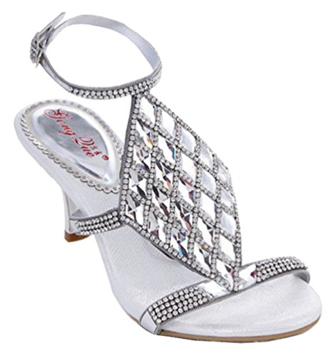 Abby MN-L021 Womens Sexy Comfort Fashion Wedding Bride Party Job Rhinestone Leather Mid Heel Sandals Silvery KZewUhPG