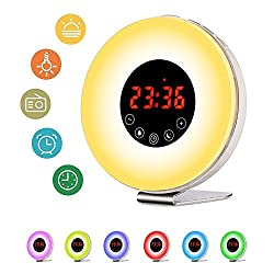 Sunrise Alarm Clock, Hoyee 7 Changing Colors Wake up Light with Nature Sound, Sunlight Simulation Daylight Alarm Clock with FM Radio, Touch Control and USB Charger