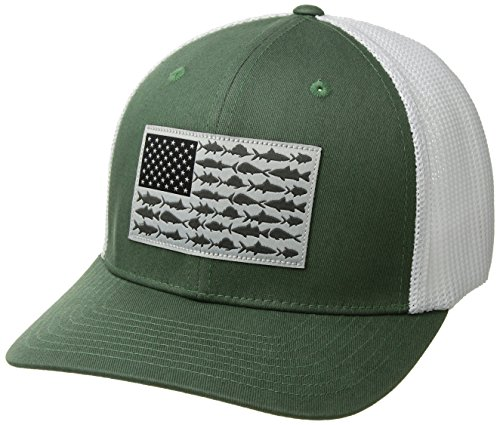 Columbia Standard PFG Mesh Ball Cap, Thyme Green, Fish Flag, Small/Medium