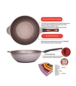 Alpha - Wok Pan Korean Made with Induction Ready 12.6 in (32cm) Oil Less Wok / Stir-Fry Pan, Dishwasher Safe, Non-Stick Coated 10 layer total with 6 layers of iNoble Premium Coating PFOA Free