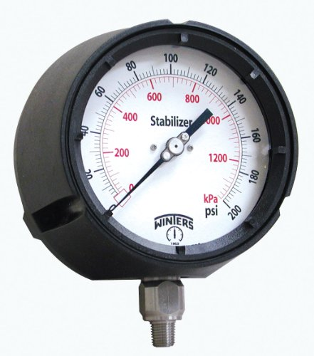 """Winters PPC Series StabiliZR Phenolic Pressure Gauge with Safety Blowout Back, 0-15000 psi, 4-1/2"""" Dial Display, +/-0.5% Accuracy, 1/2"""" NPT Bottom Mount"""