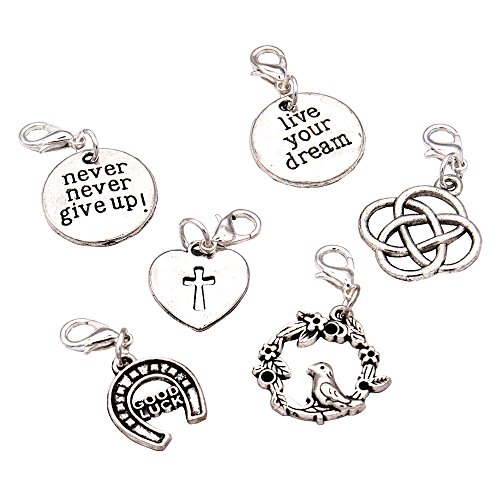 Cross Zipper Pull - Ascrafter Character Zipper Pull Charms - Set of 6 - Knitting Stitch Markers, Crochet Markers, Purse Charms
