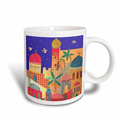 3dRose mug_113178_2 Jerusalem City Gold Domes Islamic Architecture Art Colorful Arty Buildings Jewish Israel Judaica Ceramic Mug, 15-Ounce