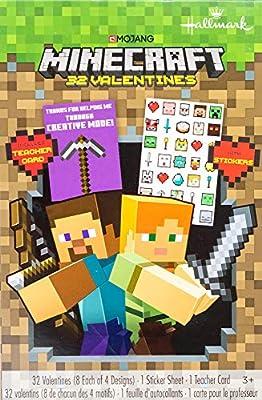 Valentines Day Classroom Exchange Gift   Minecraft 32 Valentines Includes Teacher Card & Stickers   8 Each of 4 Designs   Kids DIY DayCare Homeschooling Sunday School