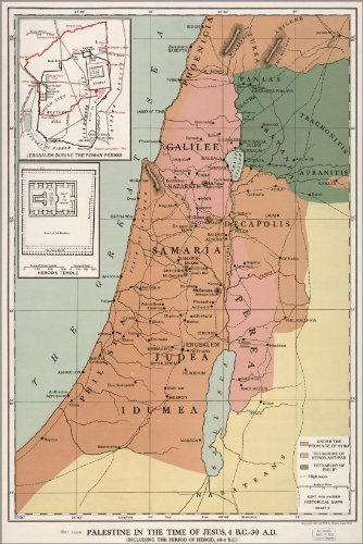Poster Map Of Palestine Israel At Time Of Jesus Antique Reprint