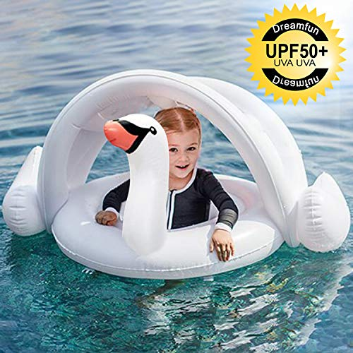 Baby Pool Float Infant Swim Ring with Canopy for the Age 3-48 Months Infant Baby Spring Float for Pool,White Swan Baby Boat with Safety Seat Swimming Float Ring Water Toys Summer Outdoor Beach