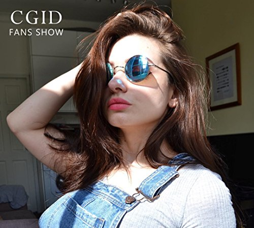 lunettes cercle inspirées retro E01 CGID Argenté style en Lennon du de rond soleil 51mm métallique vintage polarisées Bleu 1xfx7w5qW