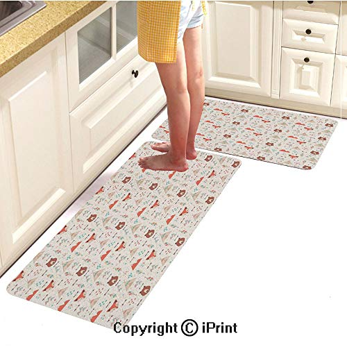 Kitchen Carpet mat 2piece Suit,Cute Ethnic Primitive Fox Arrows Bear Lodge Houses Feather Graphic,Water-Absorbent and Oil-Proof Carpet,16